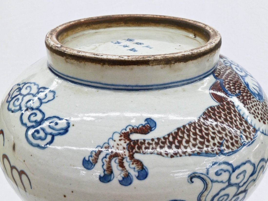 Chinese Copper Red & Blue Underglaze Bottle Neck Dragon - 6