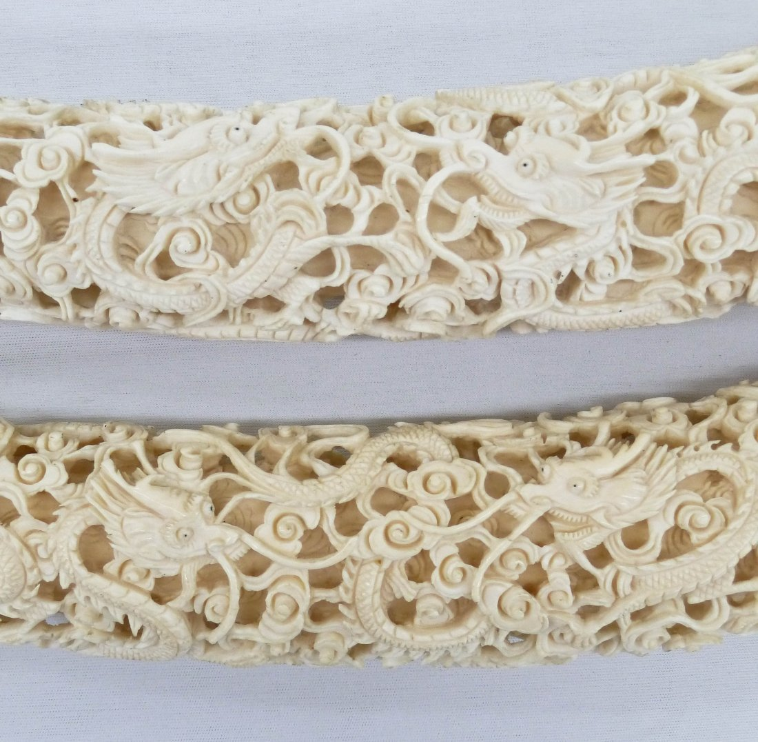 Pair Chinese Fine Ivory Dragon Tusk Carvings on Stands. - 4
