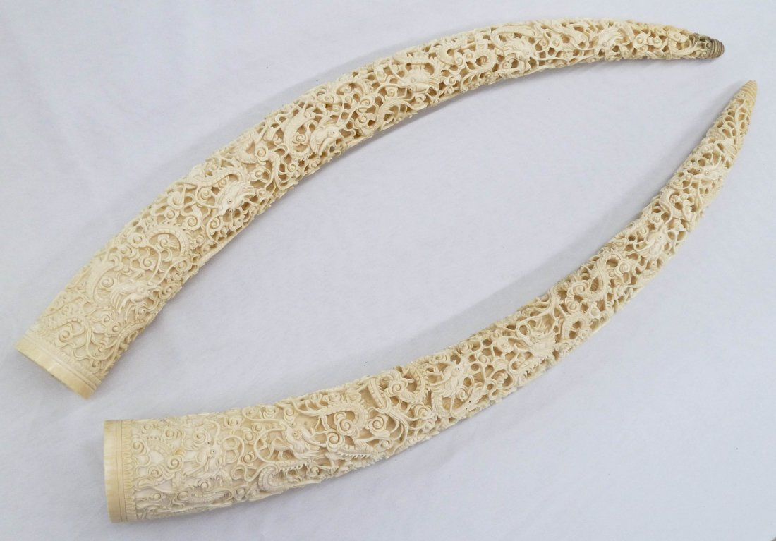 Pair Chinese Fine Ivory Dragon Tusk Carvings on Stands. - 6