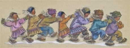 Joan Arend Kickbush (1926-2006 AK) Untitled Eskimo Chil