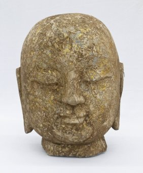 "Chinese Buddha Head Gilt Carved Stone 12.5""x10""."