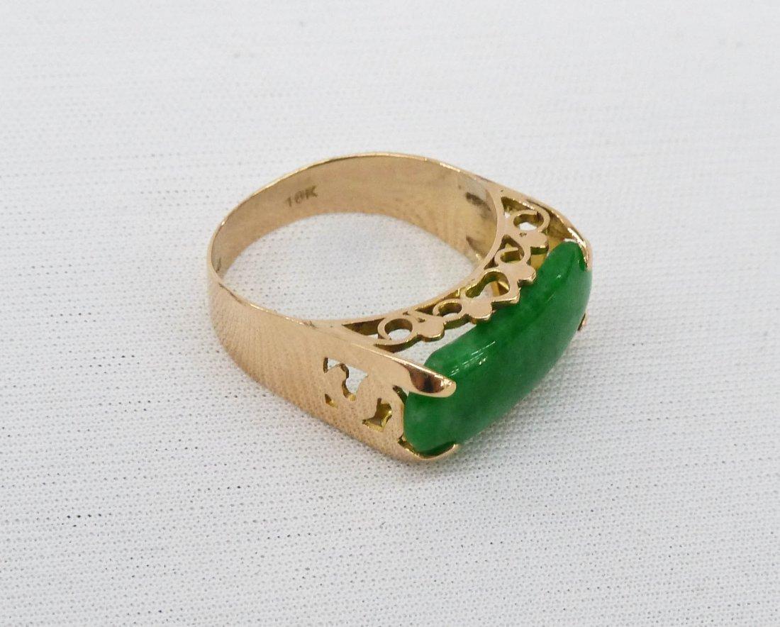 14k Apple Green Jade Lady's Ring. Yellow gold pierced s