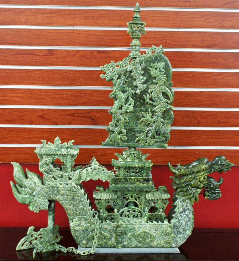 Monumental Chinese Carved Jade Dragon Ship Sculpture 34