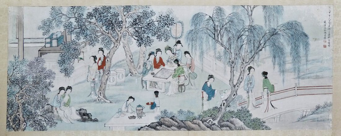 Qing Dynasty Chinese Horizontal Scroll Painting of Woma