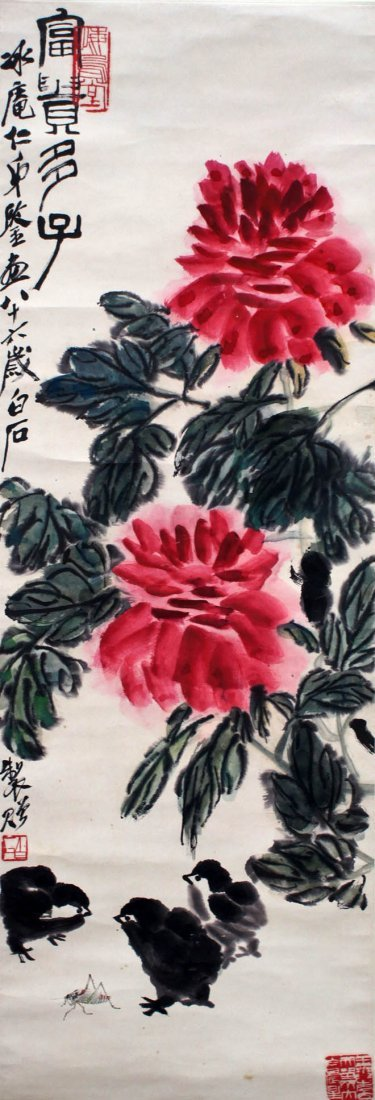 Qi Baishi Attributed Chinese Blossoming Flower Scroll P