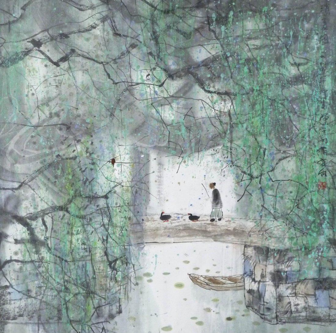 Fang Xiang Chinese Man on Bridge Signed Sumi Painting 2