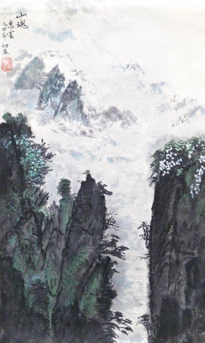 Chen Huiyun Chinese Mountain Landscape Sumi Scroll Pain