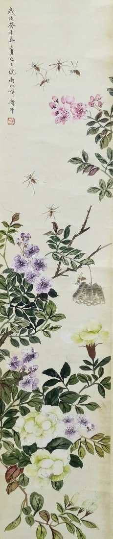 Pair Shouping Yi Chinese Insects with Trees Scroll Pain