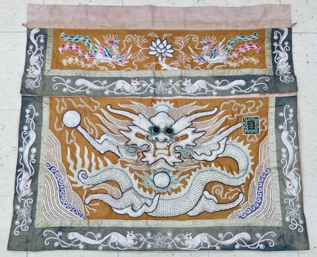 Antique Chinese Silver Thread Dragon Embroidery Hanging