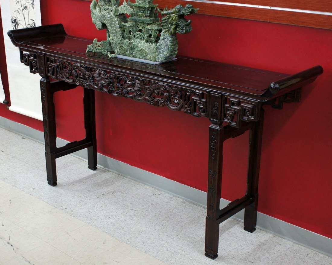Chinese Rosewood Finely Carved Altar Table with Dragons