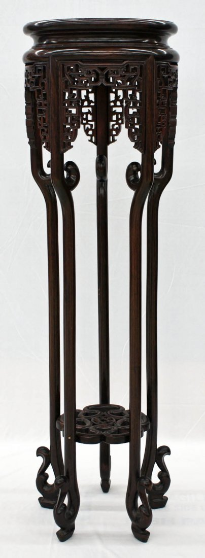 Chinese Finely Carved Rosewood Fern Stand with Scrolled