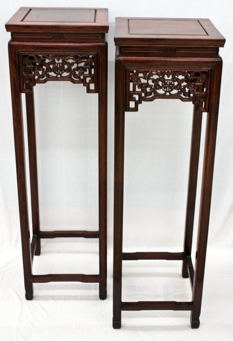 Pair Chinese Finely Carved Rosewood Square Pedestal Mat