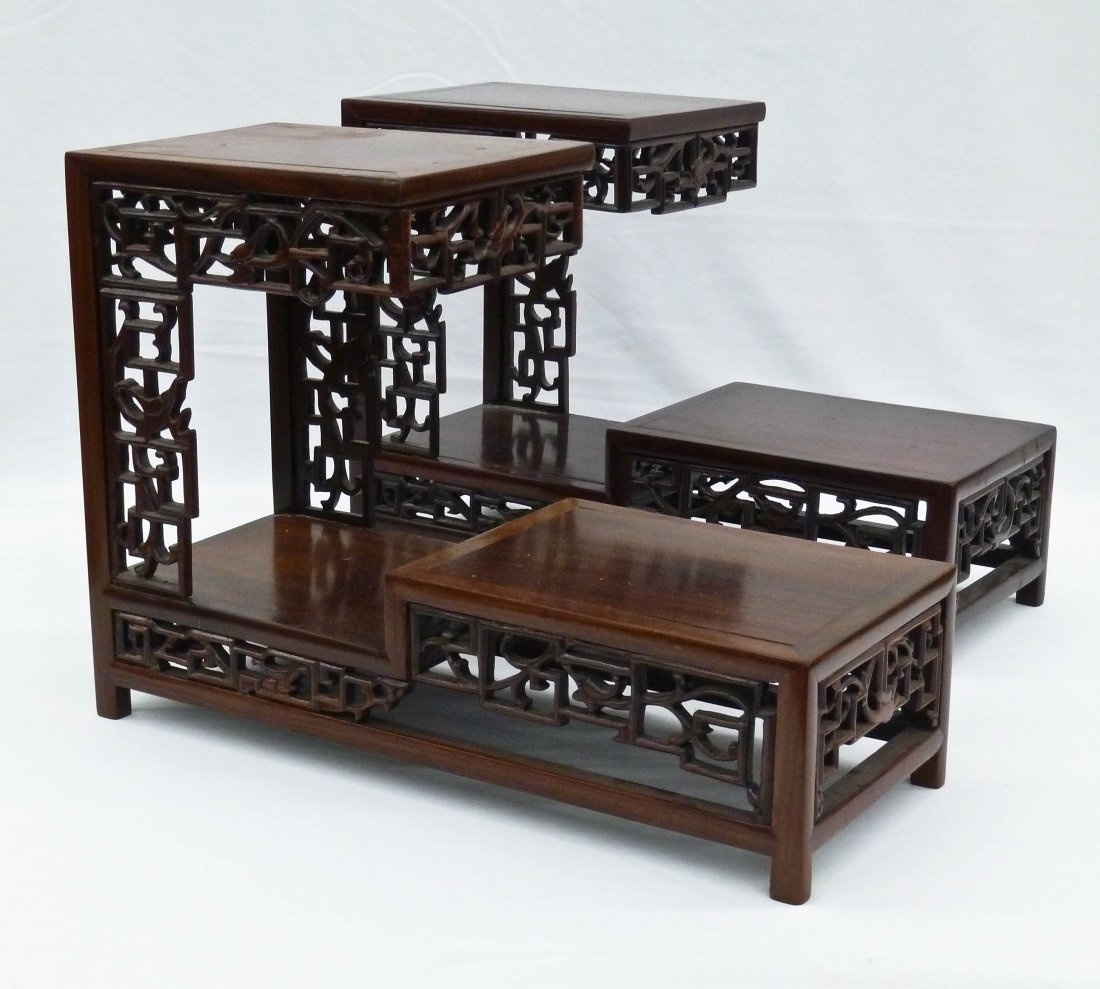 Pair Chinese Finely Carved Rosewood Three Tier Display