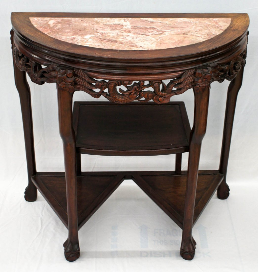 Pair Chinese Carved Rosewood Marble Top Demilune Tables