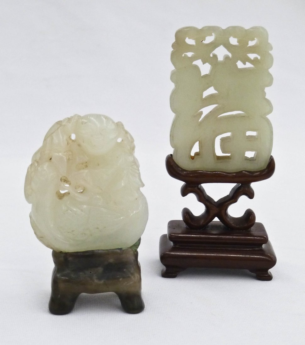 (2) Chinese Carved Celadon Jade Pendants on Stand. Pier