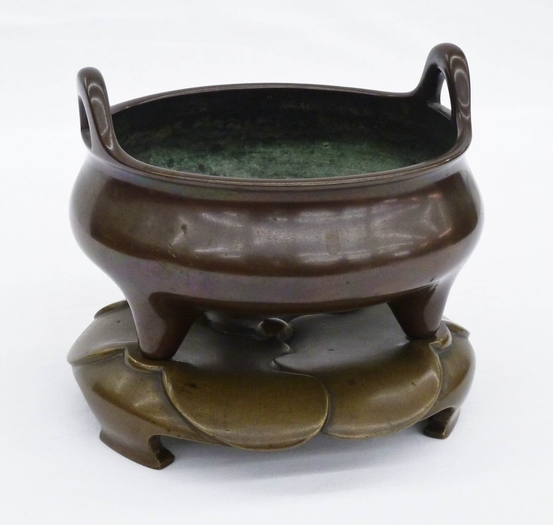 Chinese Bronze Ding Footed Censor with Stand 5.25''x6.2