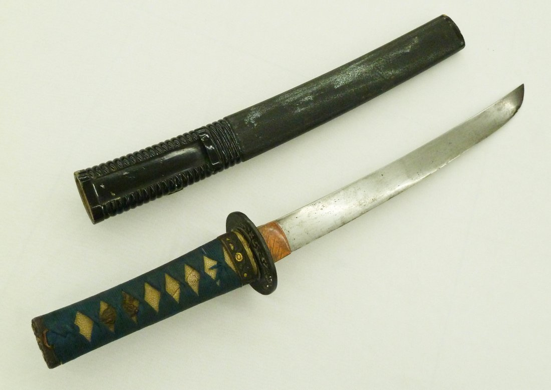 Antique Japanese Tanto Sword or Dagger with Lacquered S