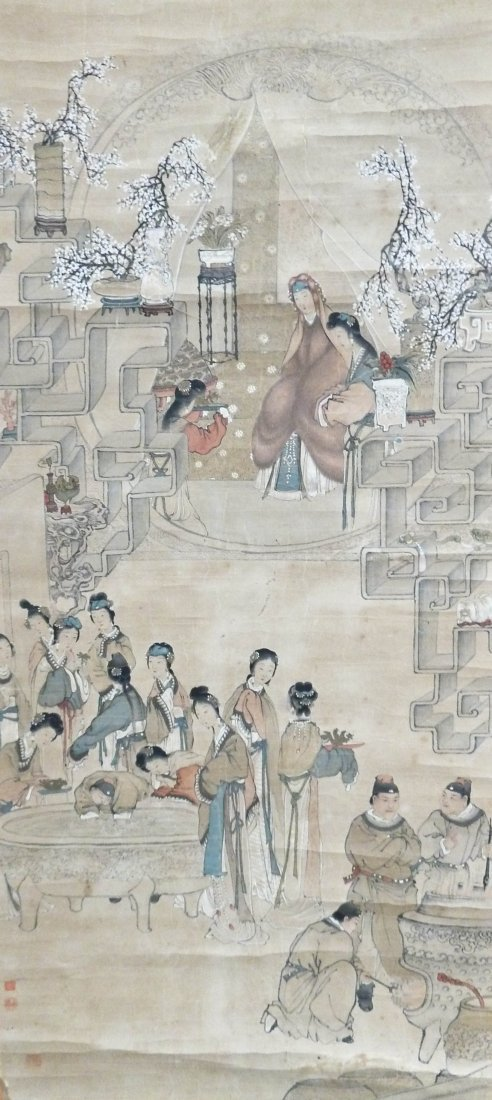 Antique Chinese Wealthy Woman with Many Servants in