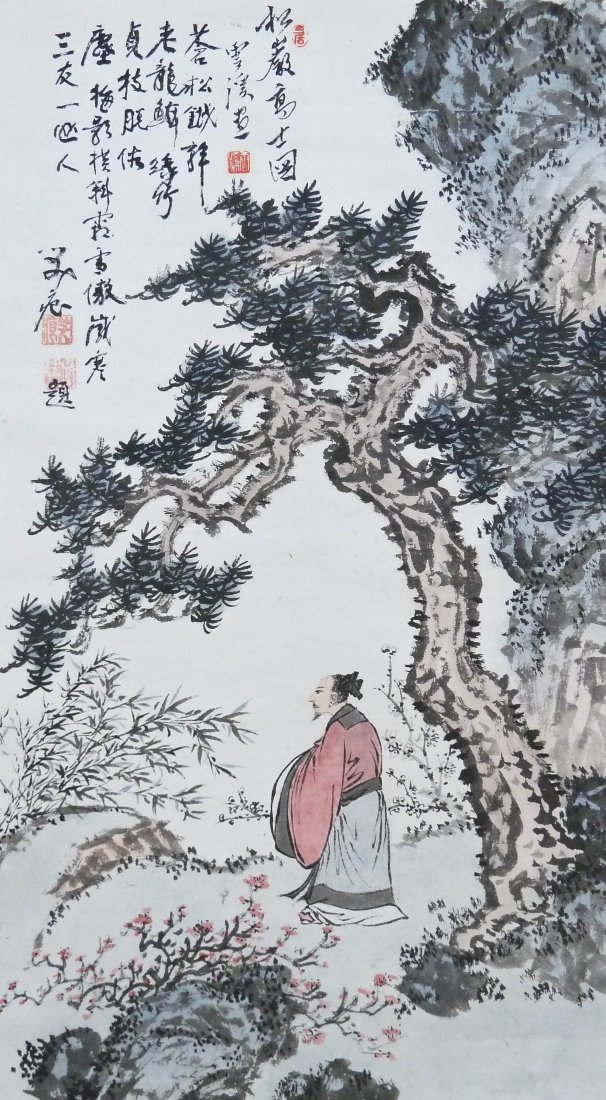 Xi Yun Chinese Scholar in Landscape Scroll Painting