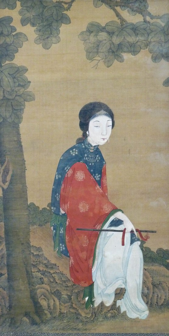Antique Chinese Female Beauty in Landscape Scroll