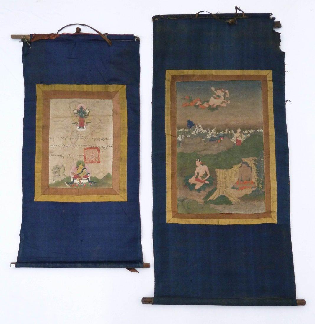 (2) Antique Tibetan Painted Thangkas 13.75''x9.5''