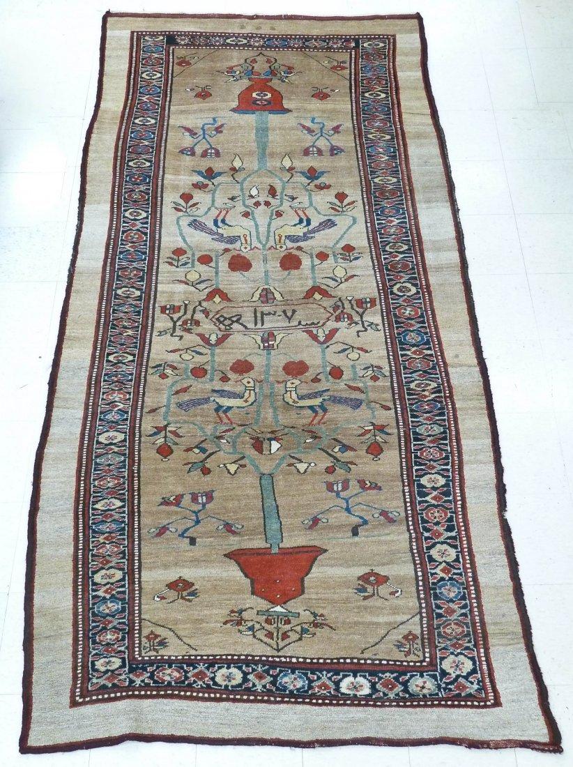 Vintage Persian Tribal Bird & Vase Oriental Rug 5'x11'.