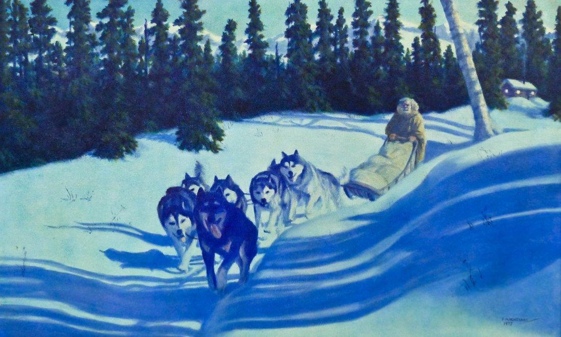 Fred Machetanz (1908-2002 AK/NY) ''Winter Moonlight''