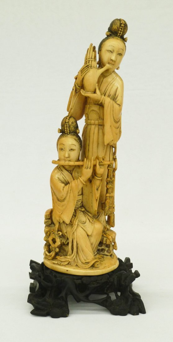 Antique Chinese Woman Flute Players Carved Ivory Figure