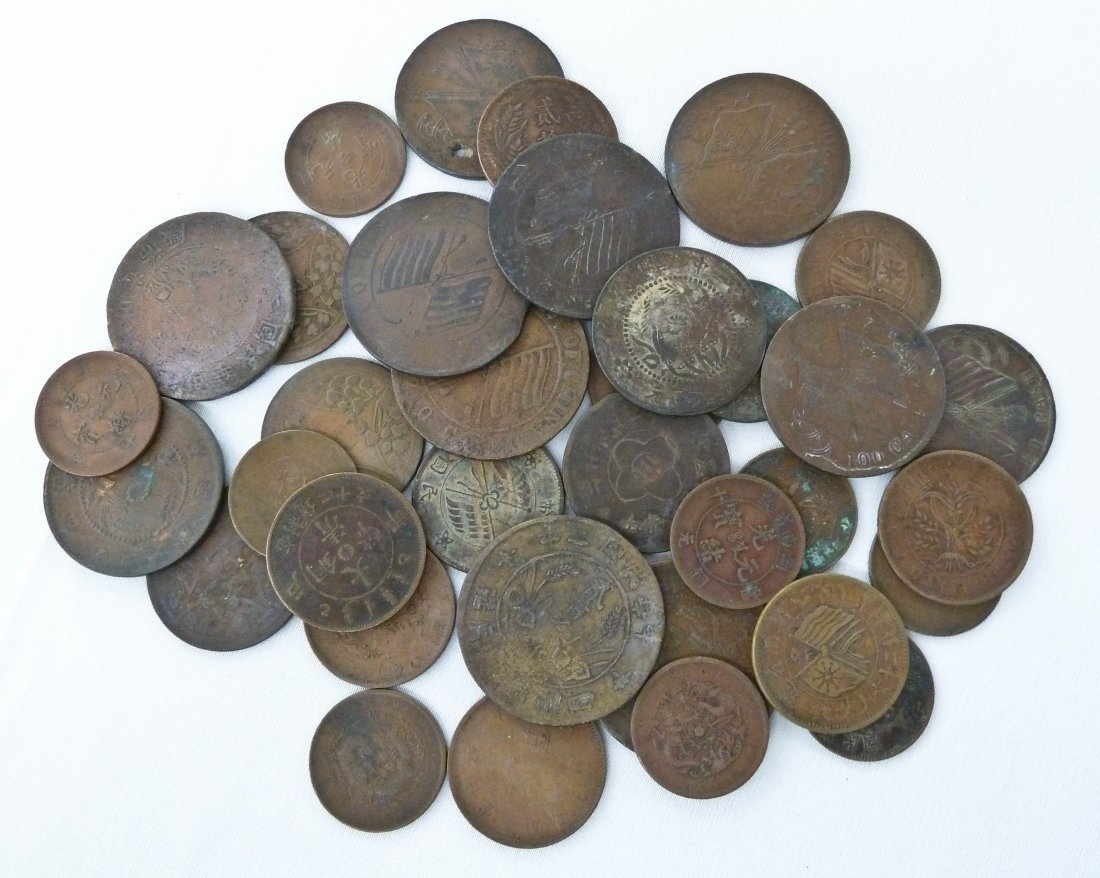 Group (35) Chinese Qing Dynasty Copper Coins. Including