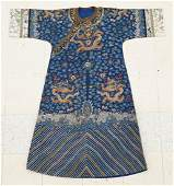 Antique Chinese Imperial Court 9-Dragon Robe 56''x52''.