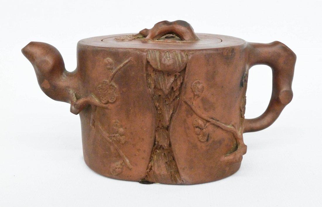 Antique Chinese Yixing Tree Stump Clay Teapot 4''x7''.