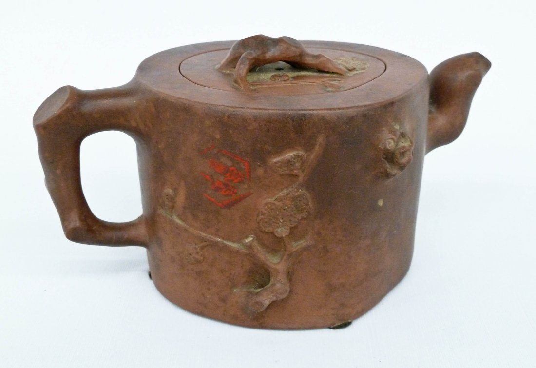 Antique Chinese Yixing Tree Stump Clay Teapot 4''x7''. - 2