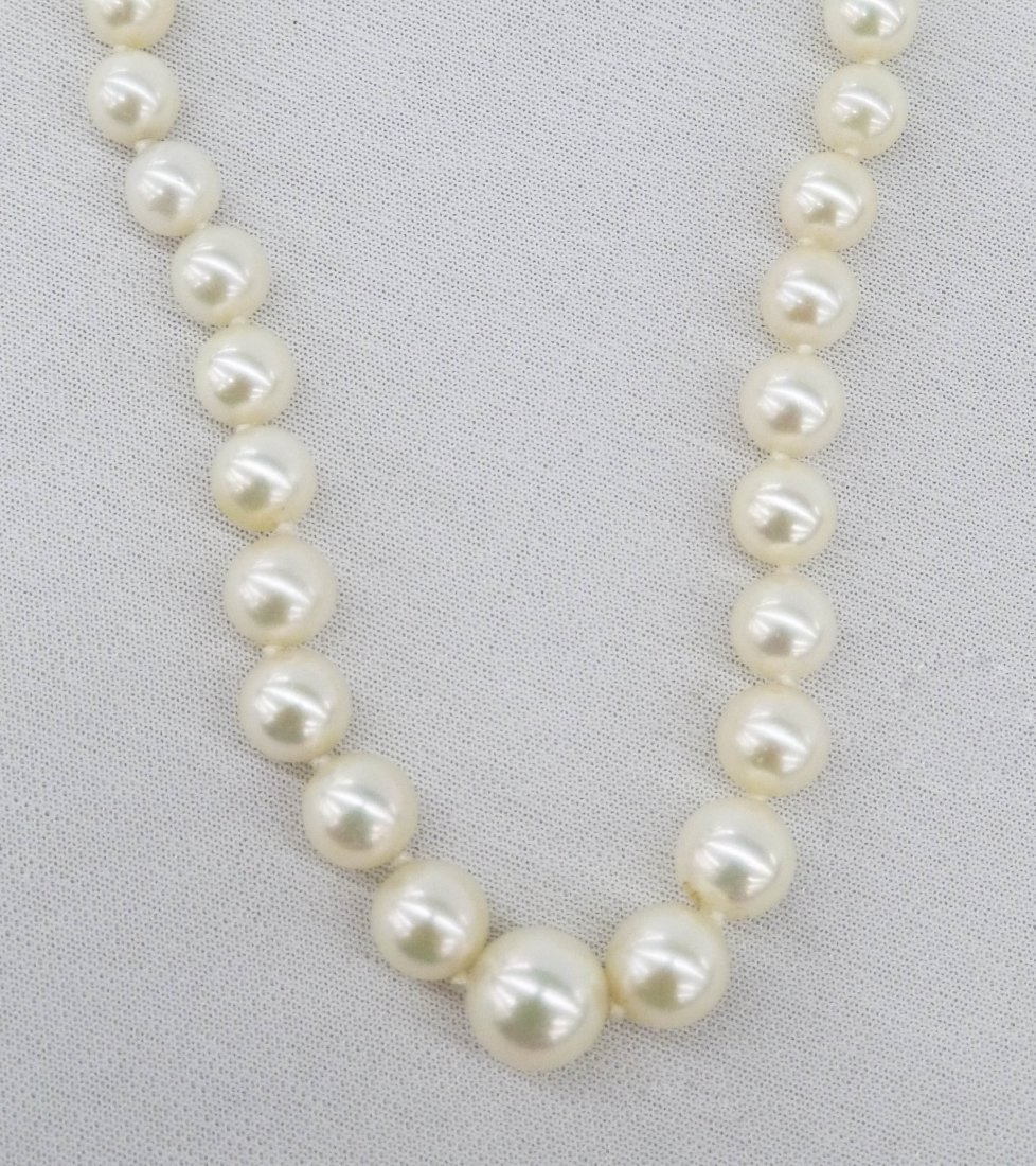 Vintage Akoya Cultured Pearl Necklace 16.5''. Contains