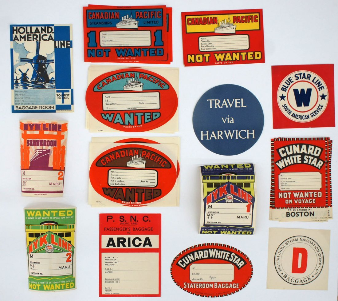 Group of (130) Transportation Luggage Labels. Circa