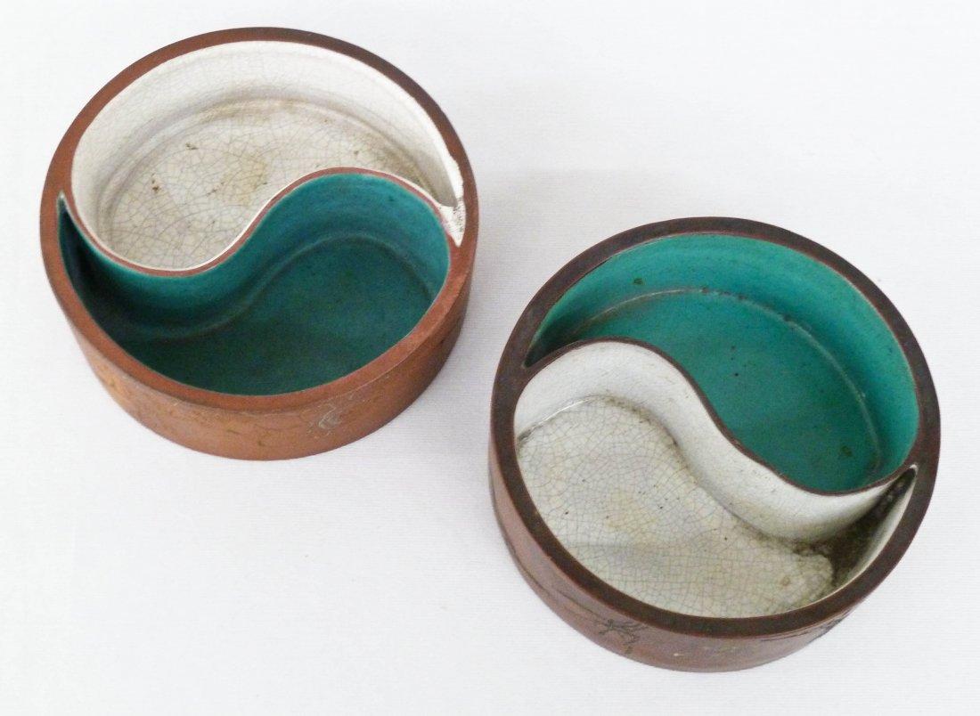 Pair Antique Chinese Yixing Yin Yang Shape Dishes