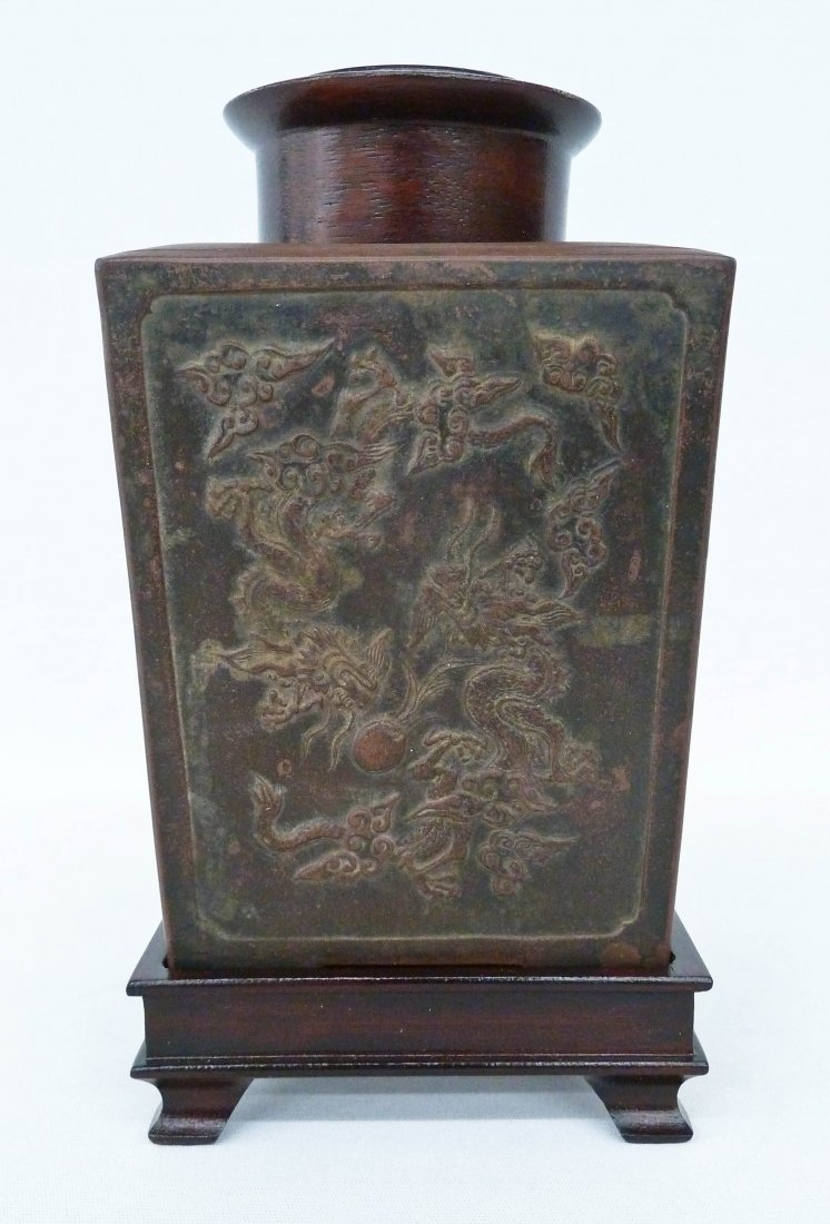 Antique Chinese Molded Dragon Yixing Square Tea Caddy