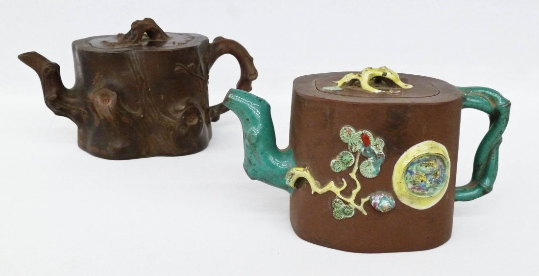 (2) Antique Chinese Yixing Clay Crabstock Form Teapots.