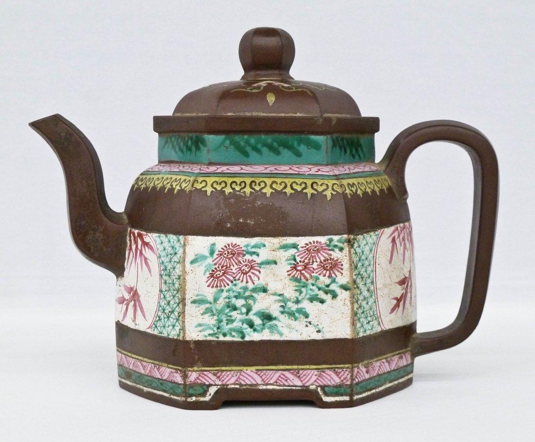 Antique Chinese Polygon Form Zisha Enamel Large Teapot