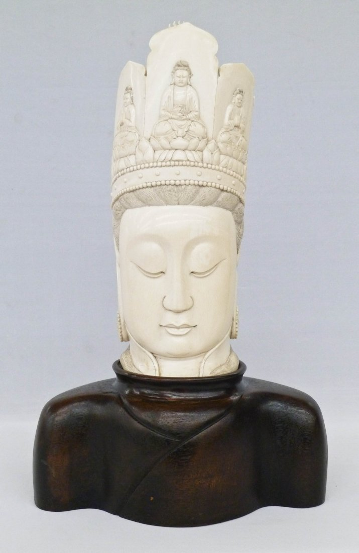 Impressive Chinese Ivory Guanyin Large Head Bust on