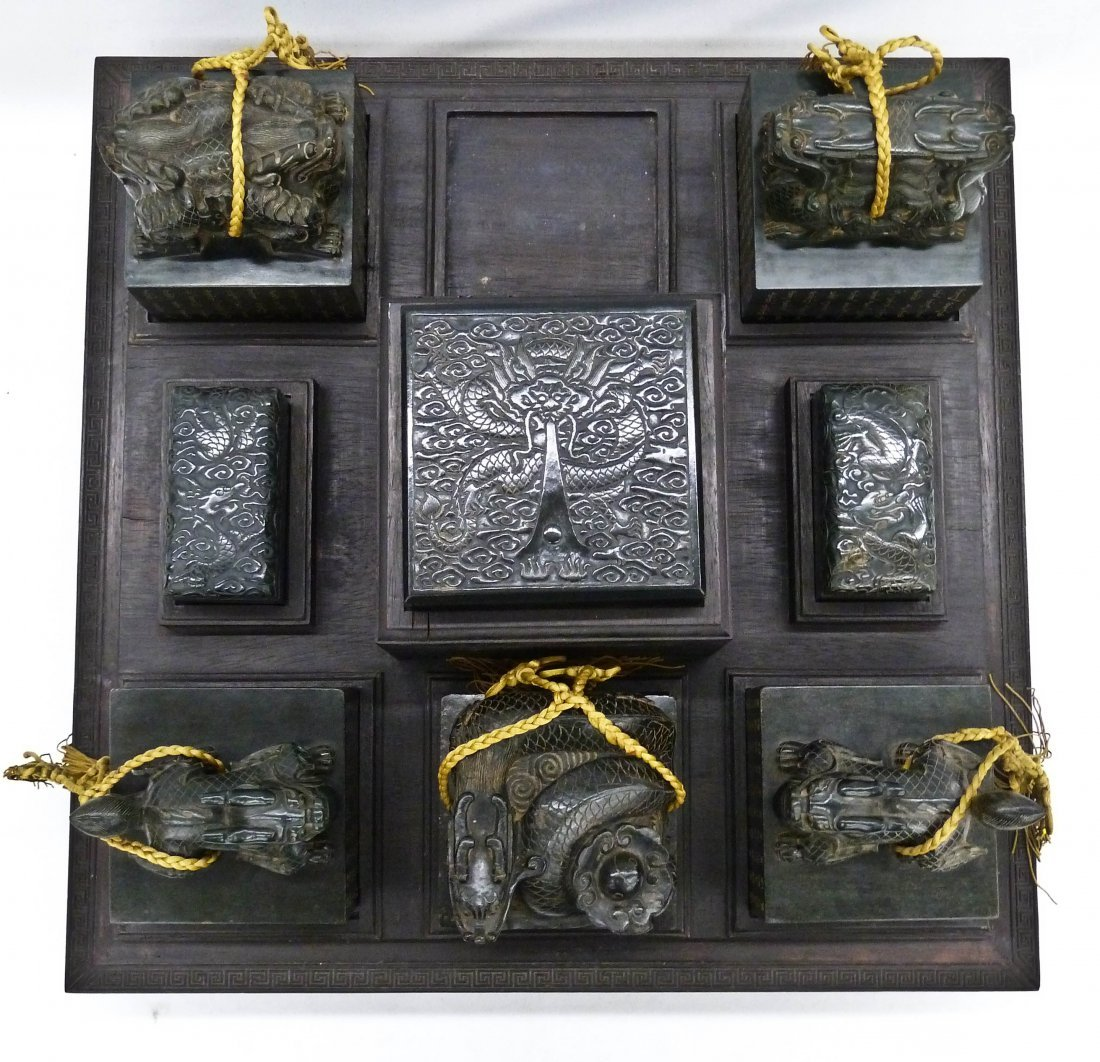 Chinese Carved Jade Imperial Six Seals of State Set in - 8