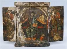 Byzantine Greek Russian Orthodox Triptych Folding Icon