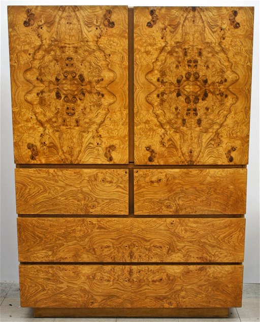 Milo Baughman For Lane Olive Burl Wood Veneer Wardrobe