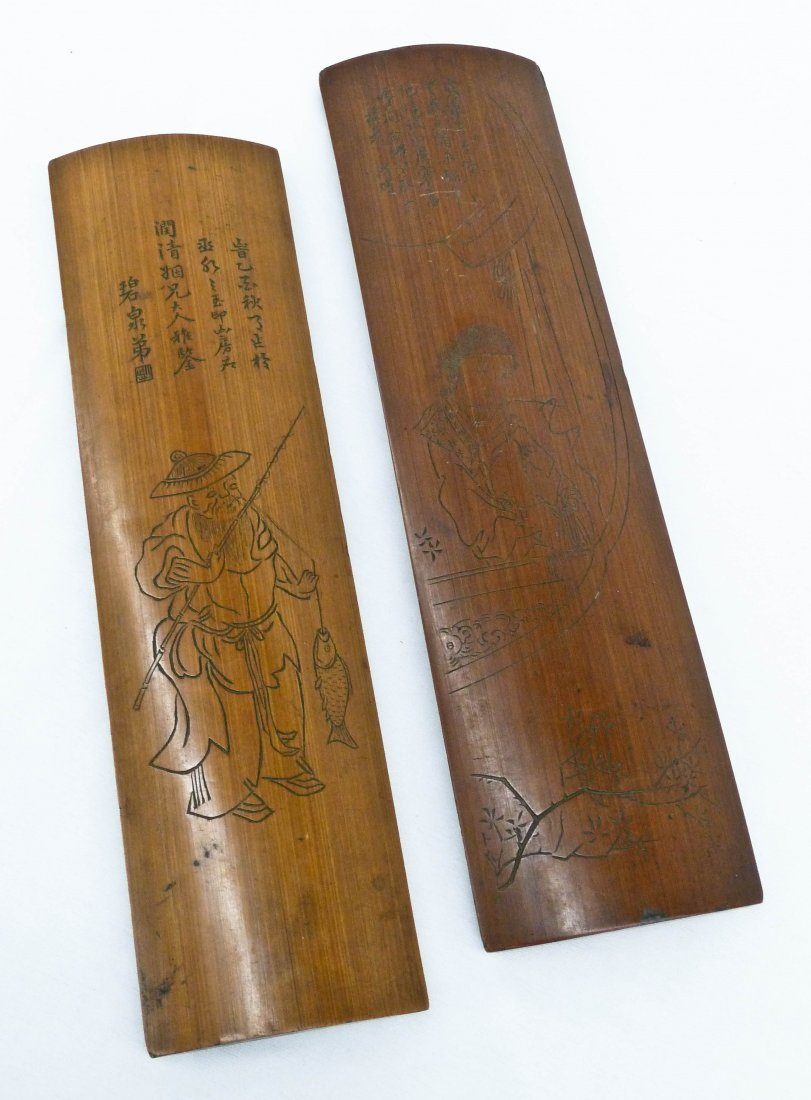 (2) Chinese Bamboo Scholar's Wrist Rests with