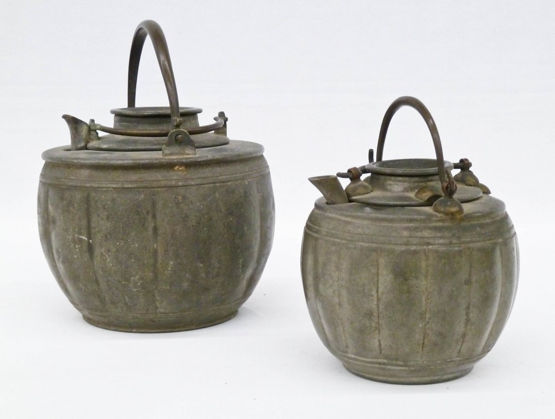 (2) Chinese Pewter Yixing Type Melon Shaped Teapots
