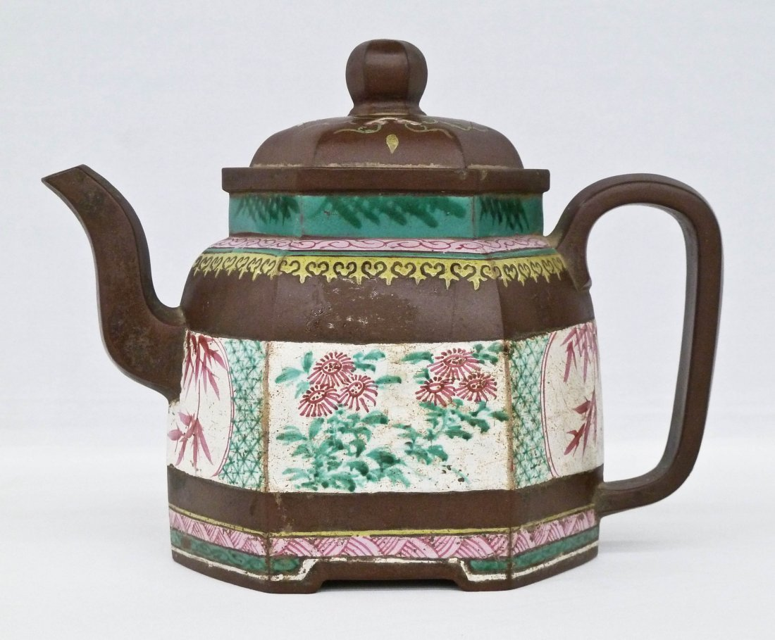 Chinese Polygon Form Zisha Enamel Yixing Teapot