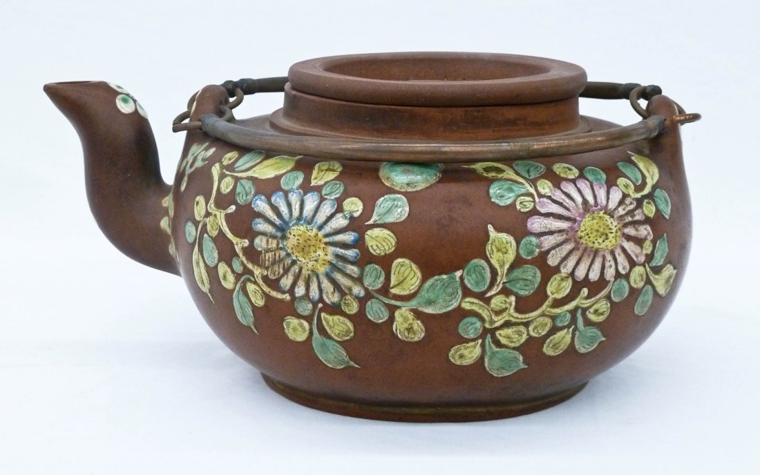 Chinese Chrysanthemum Yixing Zisha Enamel Teapot with