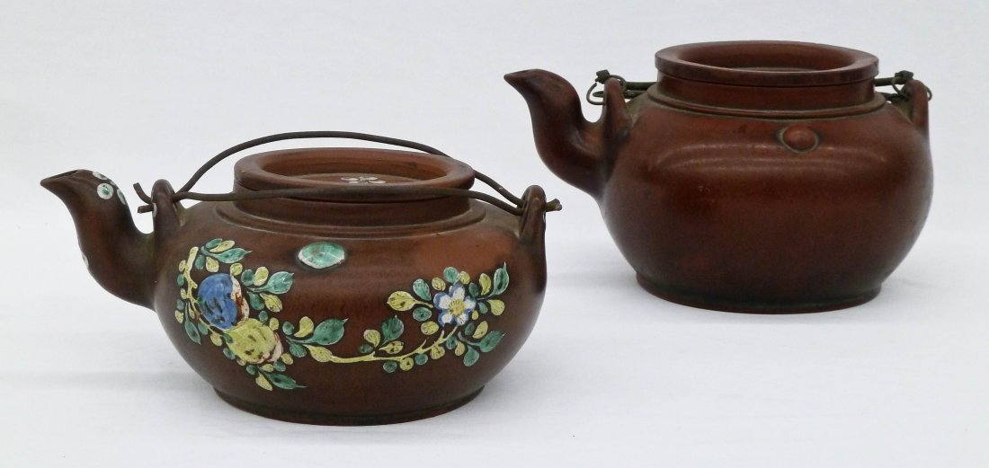 (2) Chinese Yixing Zisha Enamel Teapots. Larger plain