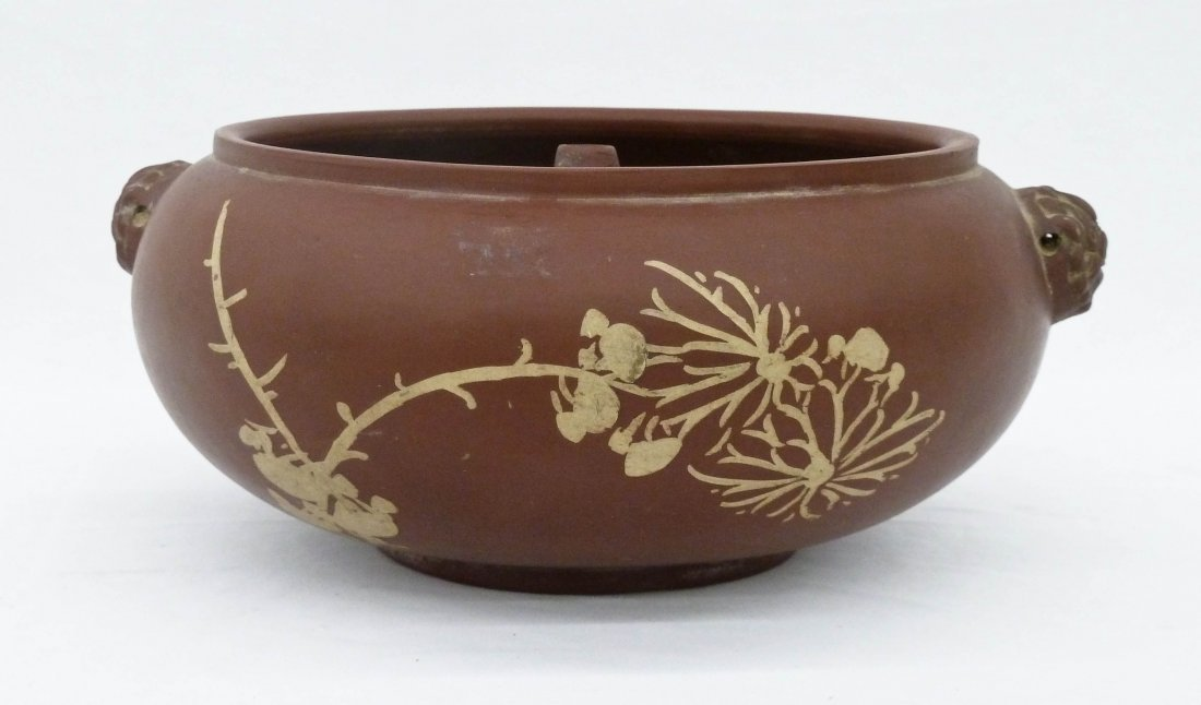 Chinese Yixing Clay Food Warmer 3.5''x8.75''. Stylized