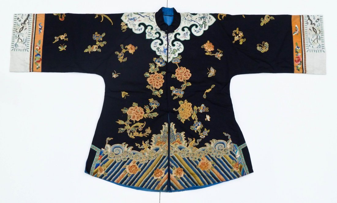 Fine Chinese Floral Silk Embroidered Robe 34''x57''.