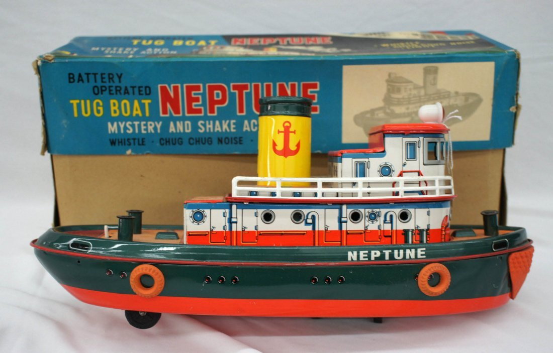Vintage Neptune Tin Battery Operated Tug Boat 14.5''